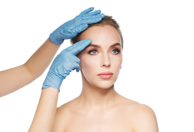 Woman face with clear skin with cosmetic dermatologist